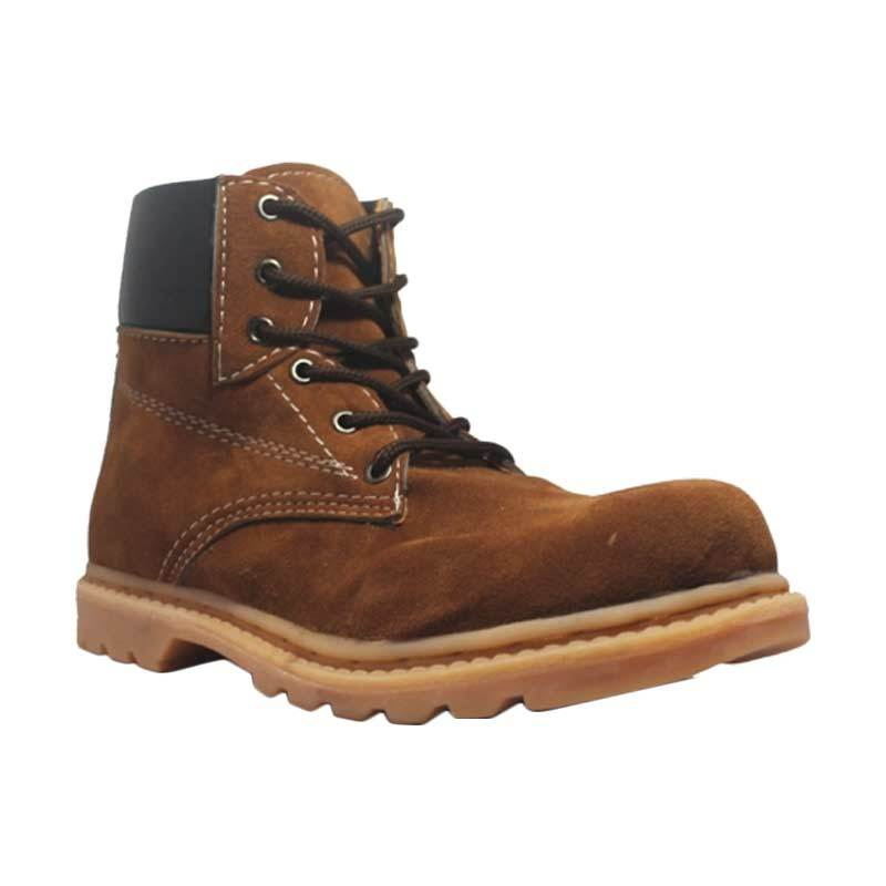 Cut Engineer Safety Boots Wing Suede Leather Coklat Sepatu Pria