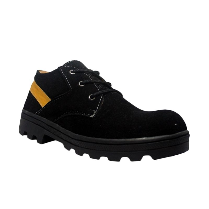 Cut Engineer Safety Low Boots Classic Leather Hitam Sepatu Pria