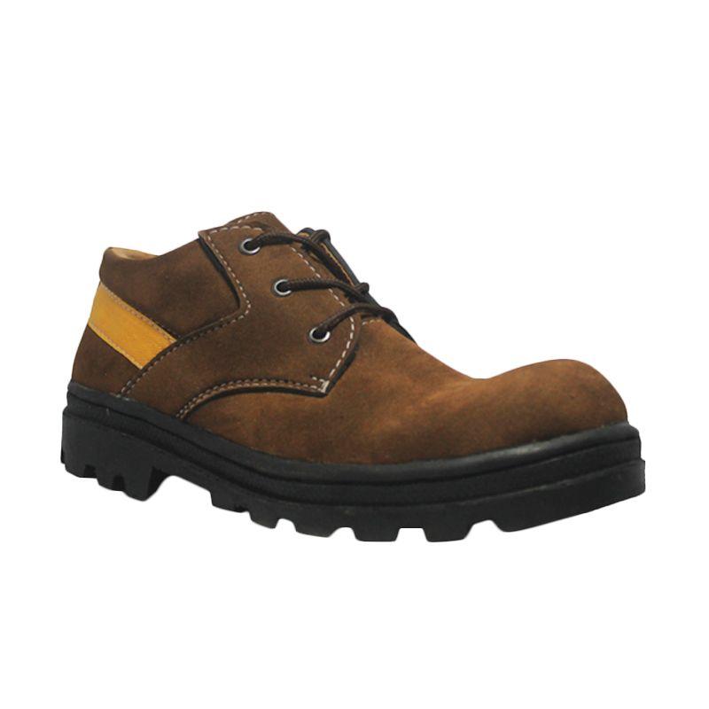 Cut Engineer Safety Low Boots Iron Leather Cokelat Sepatu Pria