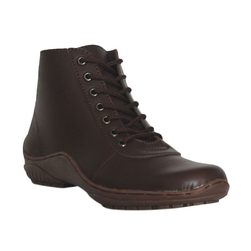 D-Island Shoes Boots Combat Leather Dark Brown
