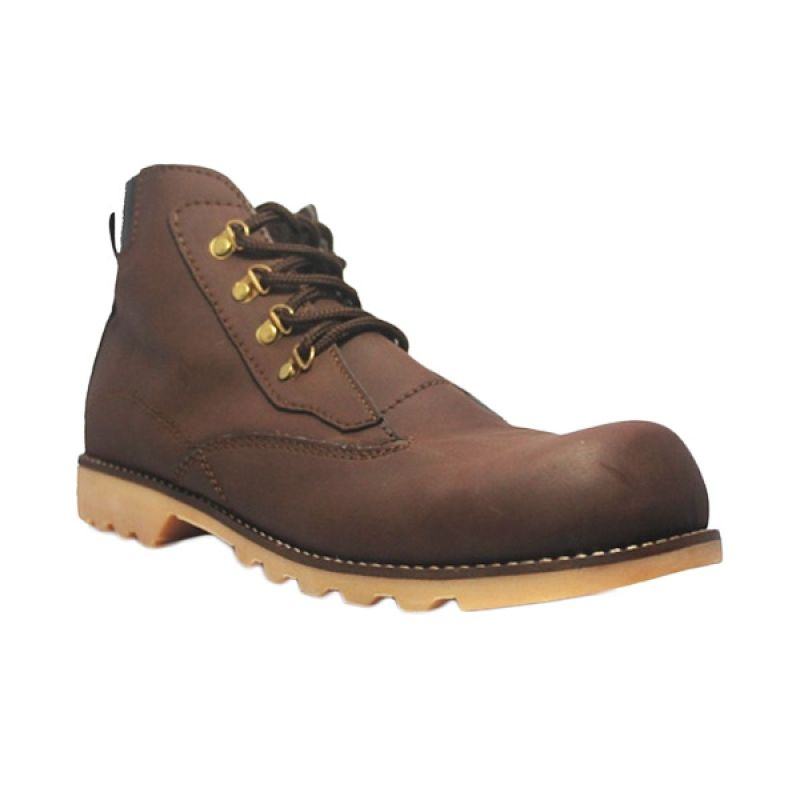 D-Island Boots Safety Engineer Leather Brown Sepatu Pria