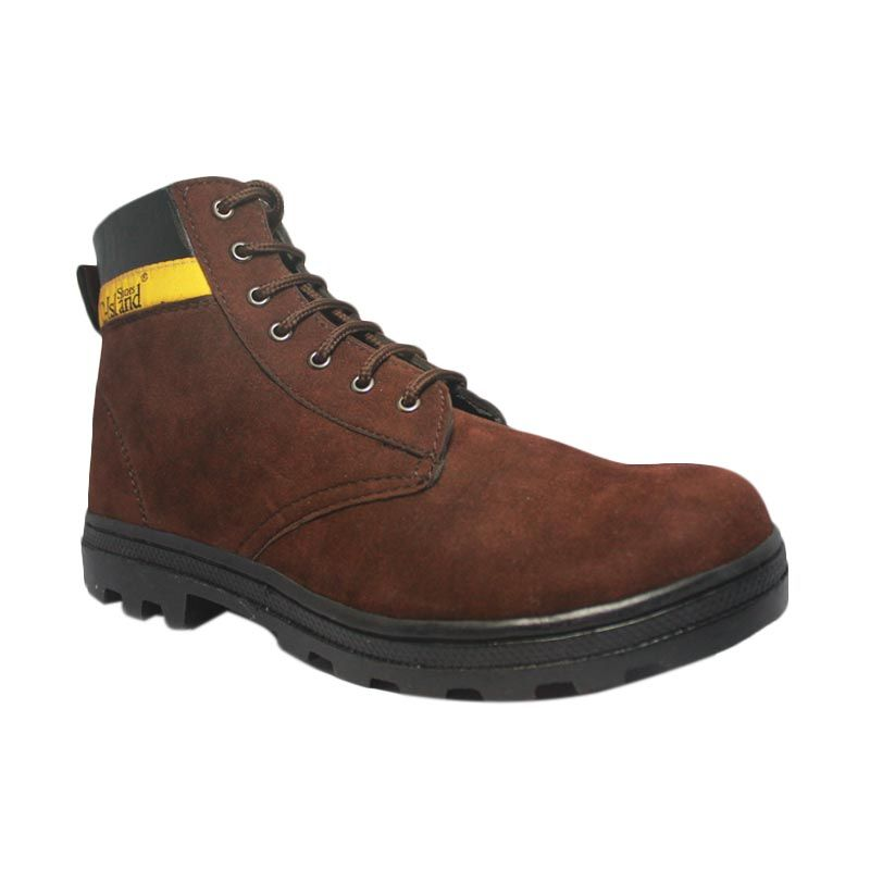 D-Island Iron Safty Boots Suede Leather Brown Sepatu Pria