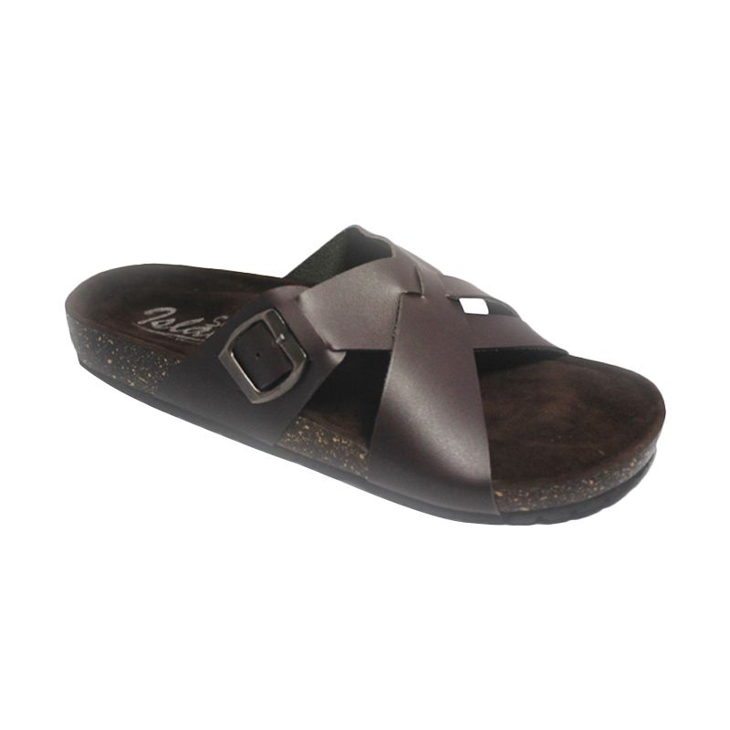 D-Island Lux Puyu Leather Dark Brown Sandal Pria