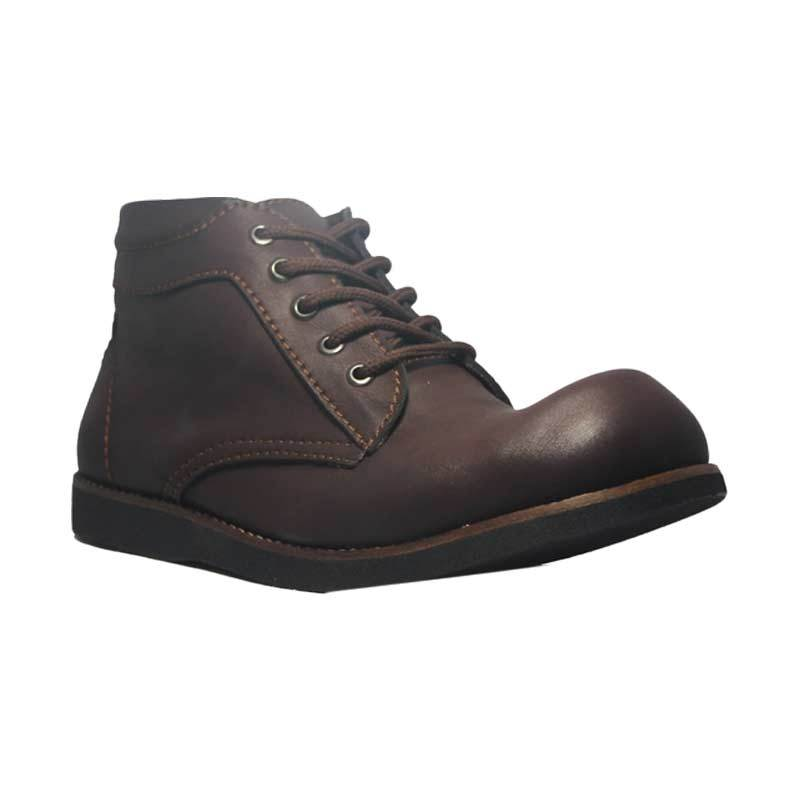 D-Island Shoes Cowboy Leather Dark Brown Sepatu Boots Pria
