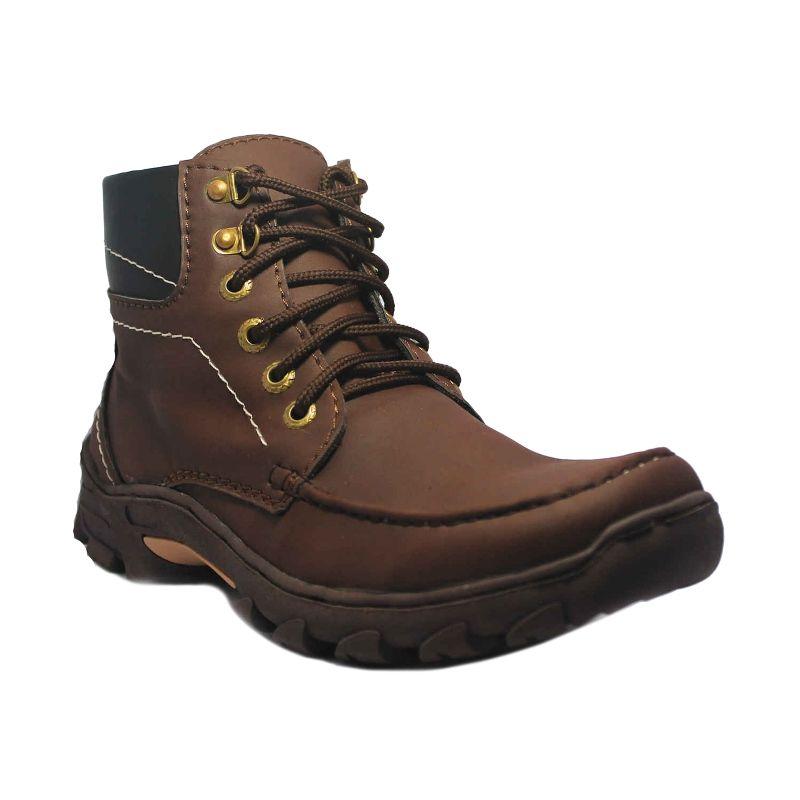 D-Island Top Qualty Tracking Cowboy Dark Brown Boots Sepatu Pria