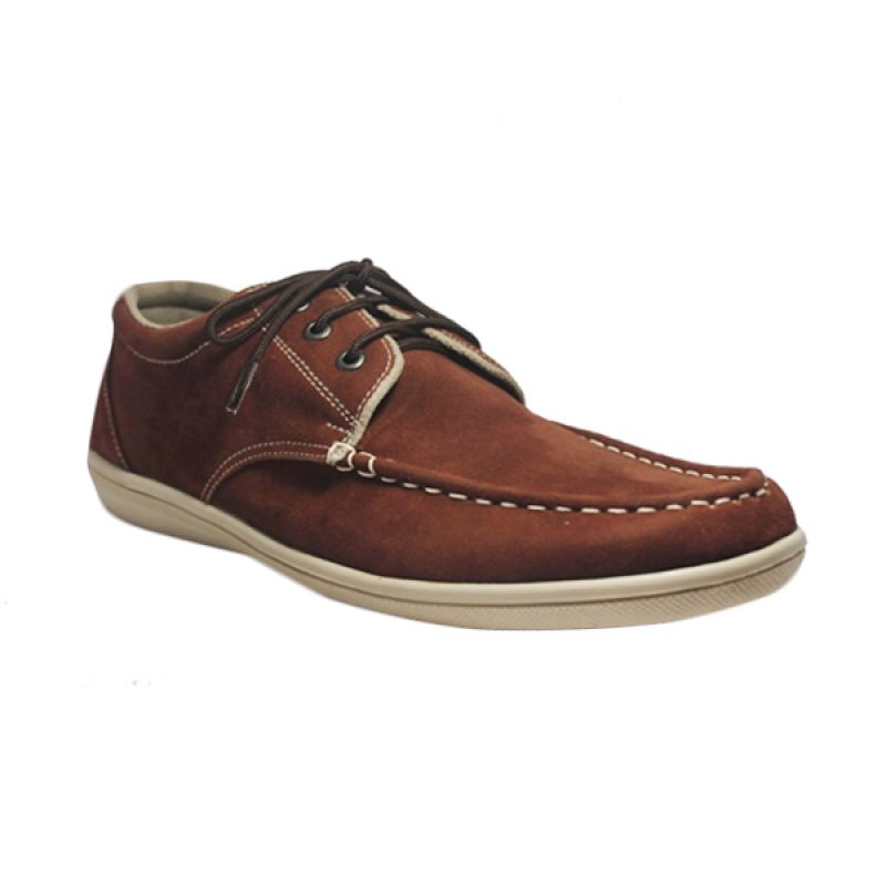 D-Island Oxford Style Suede Leather Brown Sepatu Pria