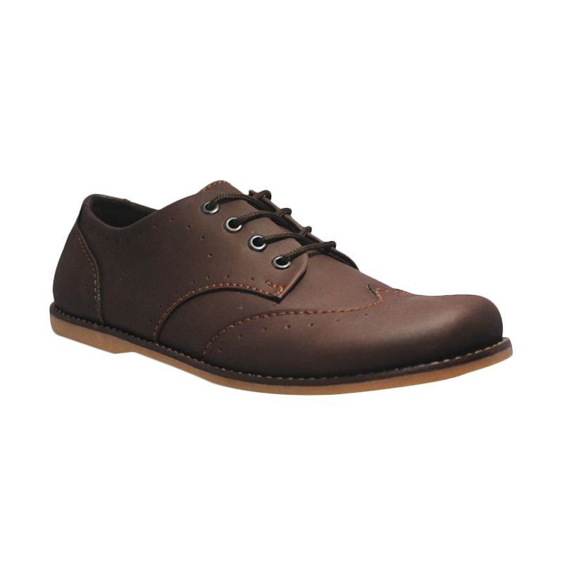 D-Island Shoes Casual Oxford Woodley Leather Brown Sepatu Pria