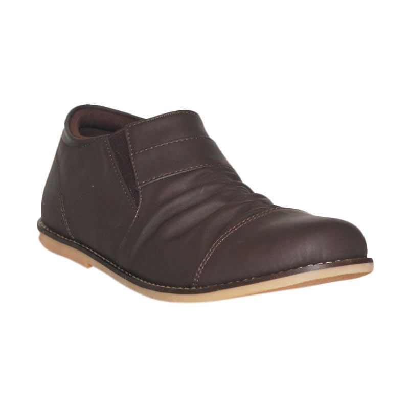 D-Island Shoes Casual Slip On Wrinkle Dark Brown Leather