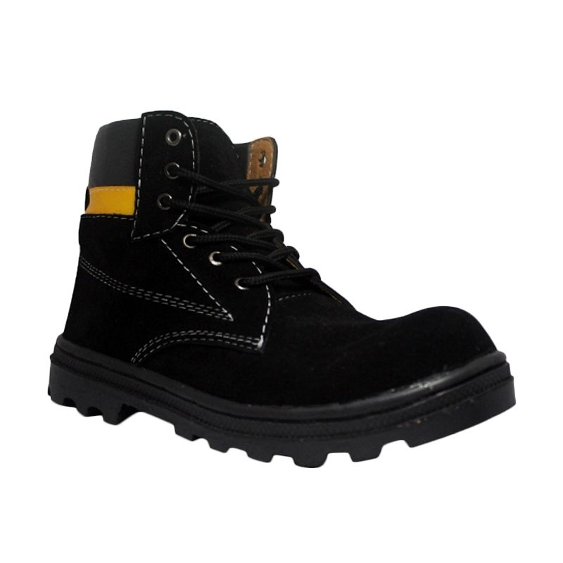 D-Island Shoes Cut Engineer Boots Iron Safety Suede Leather Black Sepatu Pria