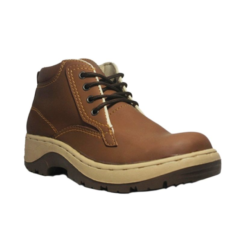 D-Island Shoes Cut Engineer Gravity Safety Boots Leather Brown Sepatu Pria