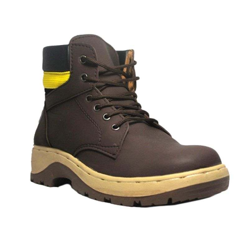 D-Island Shoes Cut Engineer Iron Safety Boots Apple Leather Brown Sepatu Pria