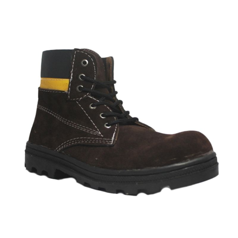 D-Island Shoes Cut Engineer Iron Safety Boots Leather Dark Brown Sepatu Pria