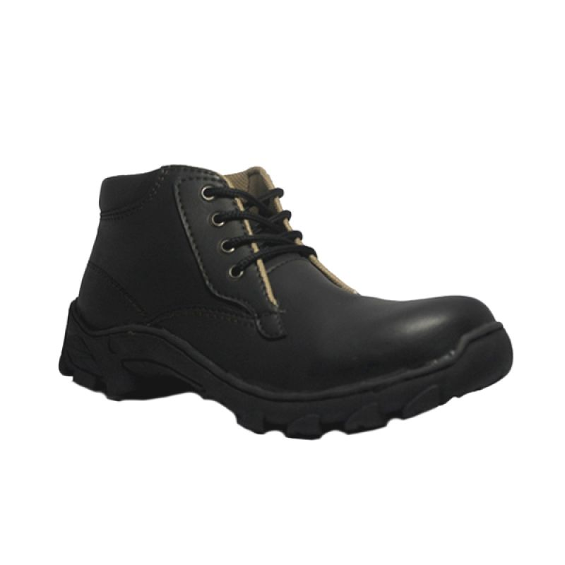 D-Island Shoes Cut Engineer Iron Safety Boots Loafers Leather Black Sepatu Pria