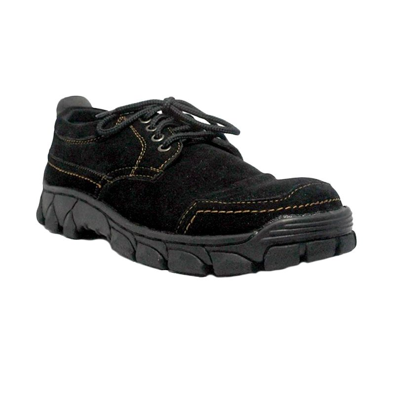 D-Island Shoes Cut Engineer Safety Low Boots Core Black Sepatu Pria