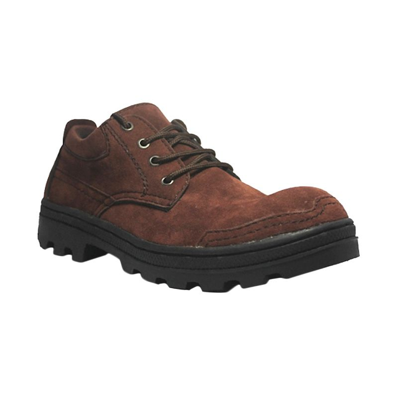 D-Island Shoes Cut Engineer Safety Low Boots Top Brown Sepatu Pria