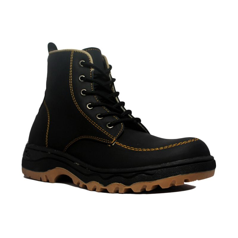 D-Island Shoes Hikers Leather Black Sepatu Boot Pria