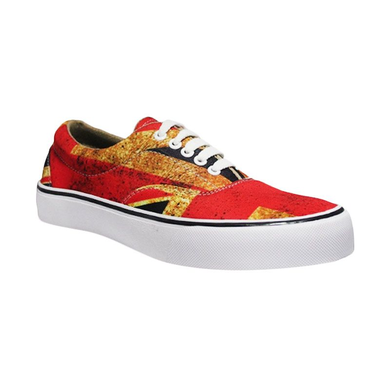 D-Island Shoes Motif England Low Canvas Red Sepatu Pria