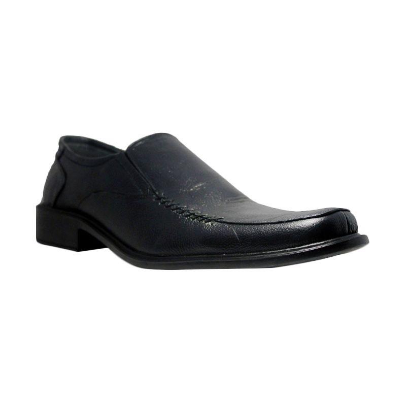D-Island Shoes Office Slip On Genuine Leather Black Sepatu Pria