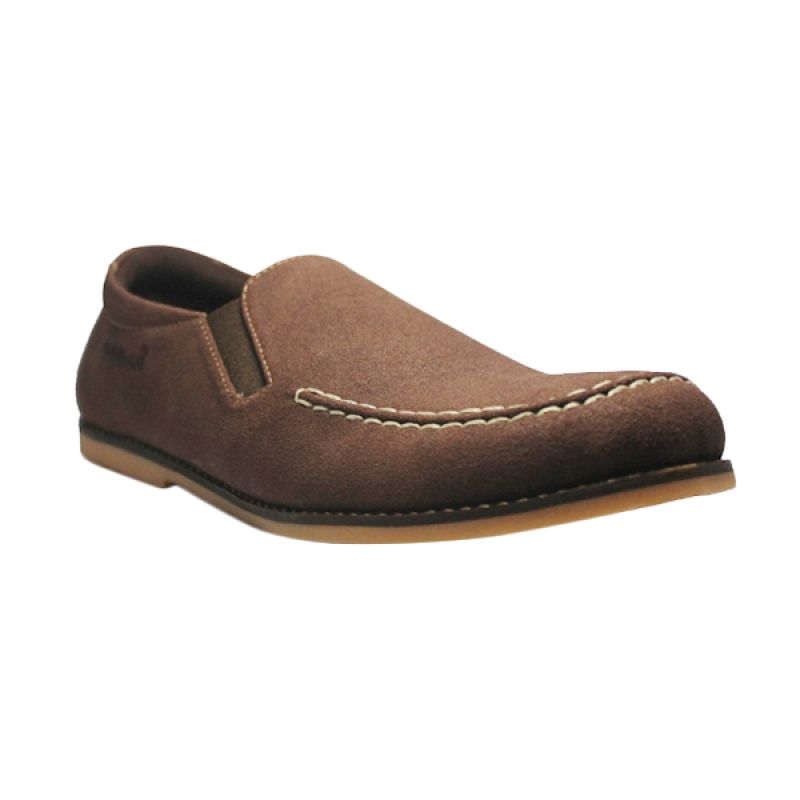 D-Island Shoes Slip On Casual LA Suede Leather Brown Sepatu Pria