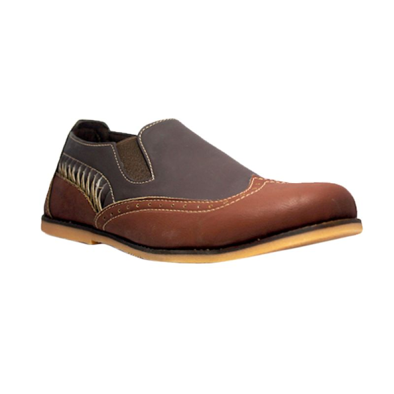 D-Island Shoes Slip On Loafer Moccasins Shark Leather Dark Brown Sepatu Pria