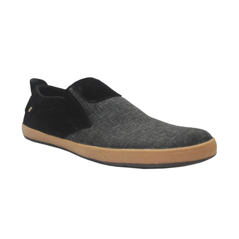 D-Island Shoes Slip On Oxford Comfort Canvas Sepatu Pria - Dark Black