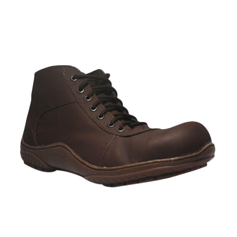 D-Island Special Leather Dark Brown Sepatu Boots Pria