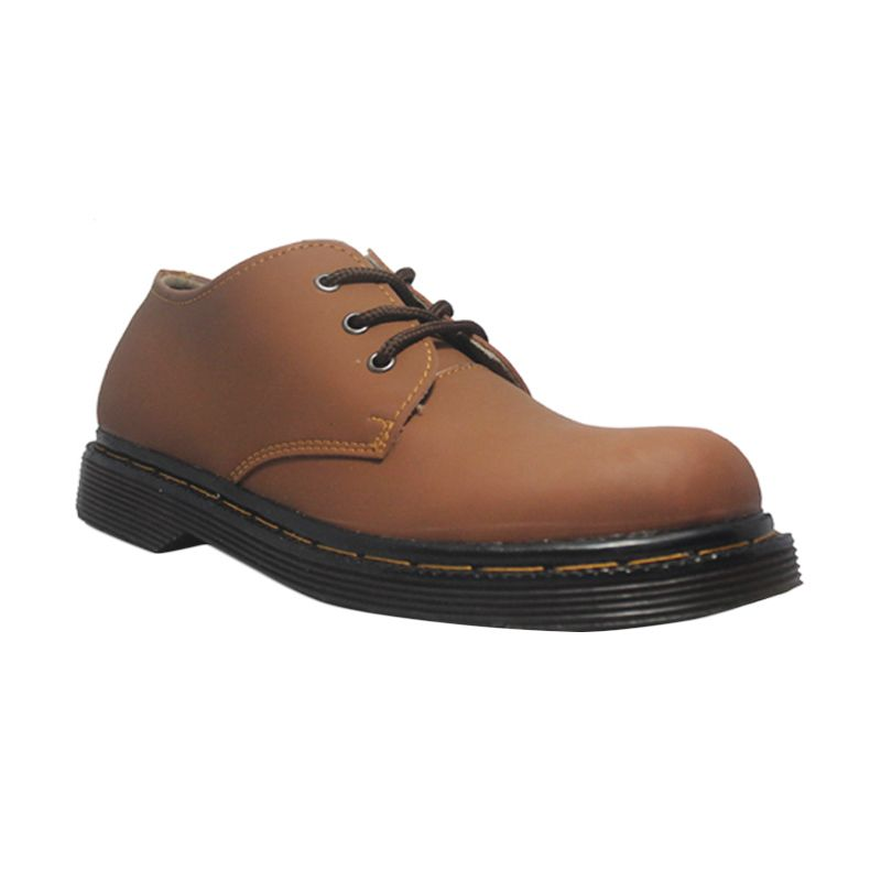 D-Island Shoes Style Mens DM Leather Brown Sepatu Pria