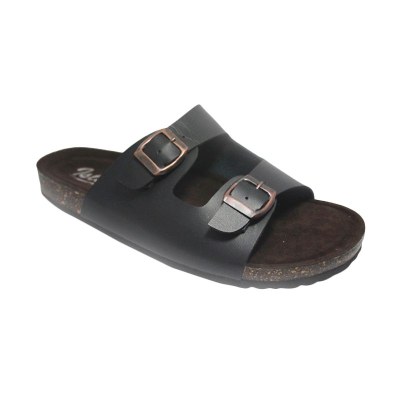 D-Island Slip On Classic Puyu Leather Dark Brown Sandal Pria