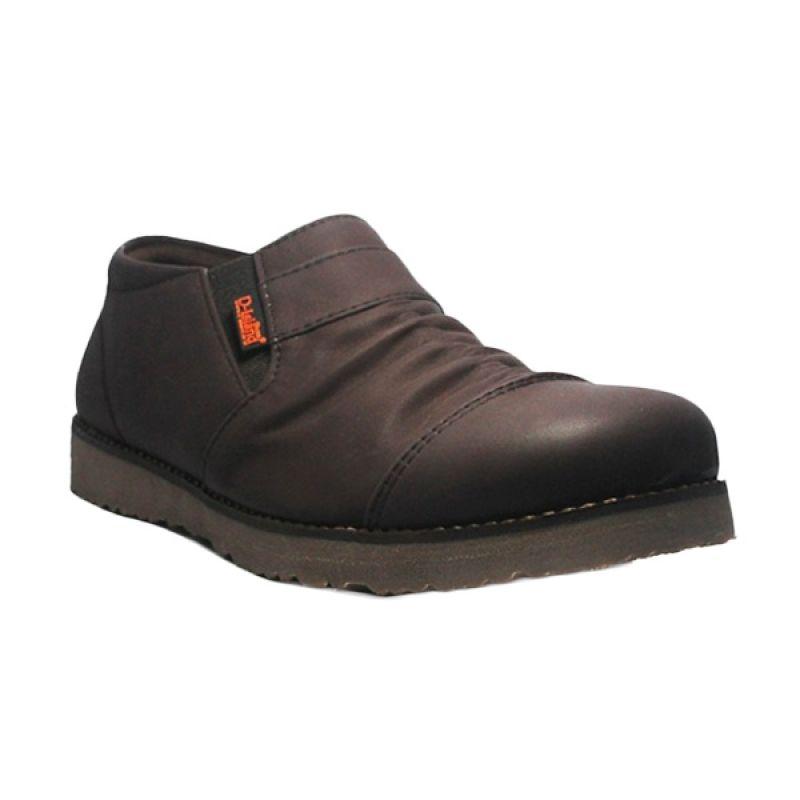 D-Island Slip On Low Boots Wrinkle Leather Dark Brown Sepatu Pria