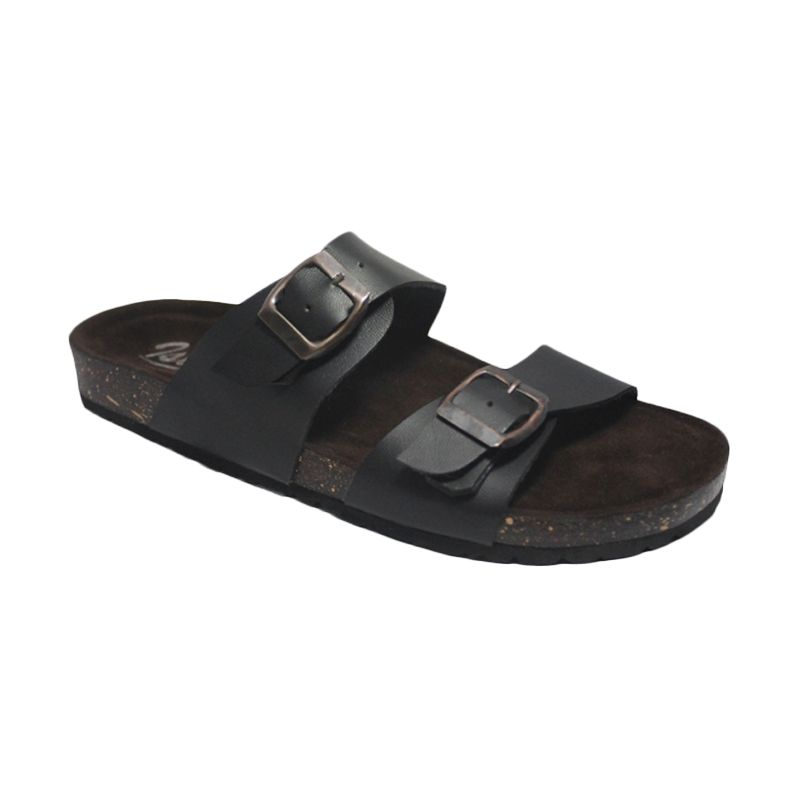 D-Island Slip On Puyu Loafers Leather Black Sandal Pria