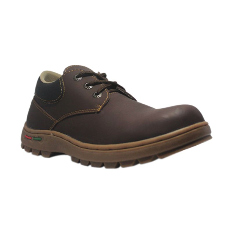 Handmade Cut Engineer Low Boots Safety Hiking Leather Brown Sepatu Pria
