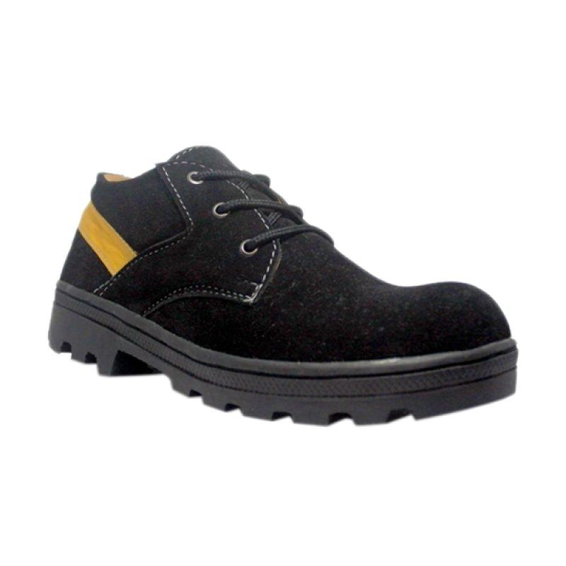 Handmade Cut Engineer Safety Boots Classic Black Sepatu Pria