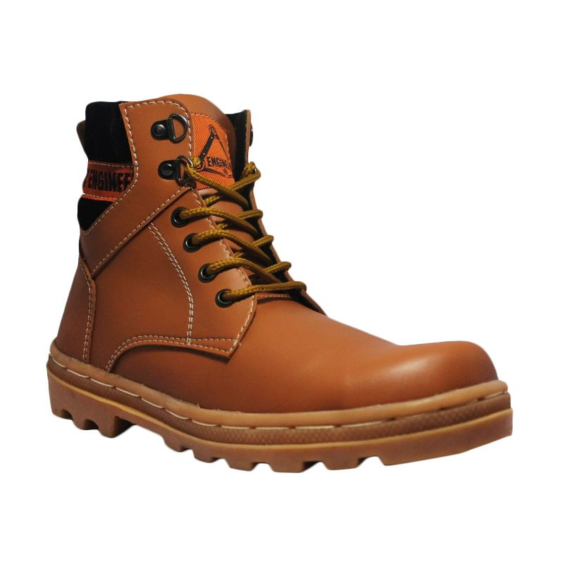 Handmade Cut Engineer Safety Boots Core Leather Soft Brown Sepatu Pria