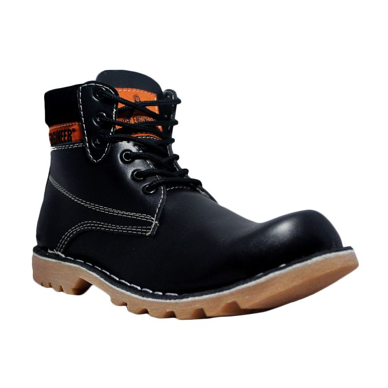 Handmade Cut Engineer Safety Boots Iron Prospector Leather Black Sepatu Pria