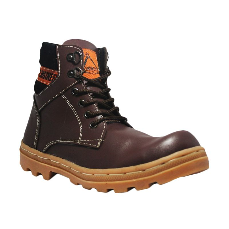 Handmade Cut Engineer Safety Boots Premium Leather Brown Sepatu Pria