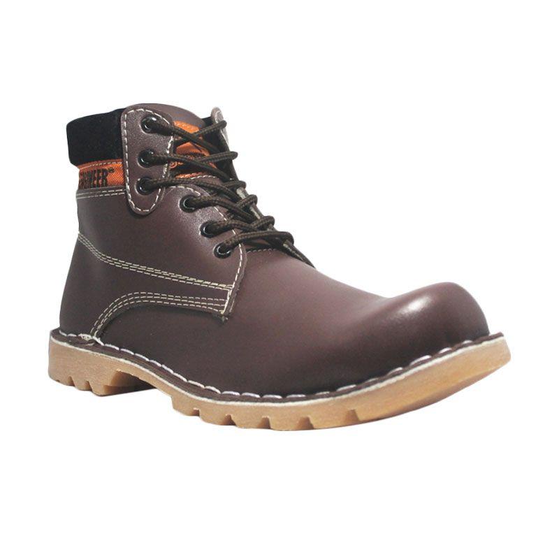 Handmade Cut Engineer Safety Boots US Leather Dark Brown Sepatu Pria