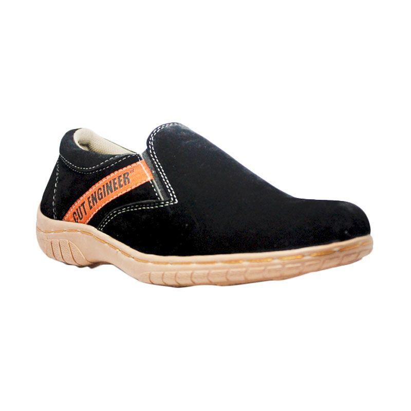 Handmade Cut Engineer Slip On Funkky Suede Leather Black Sepatu Pria