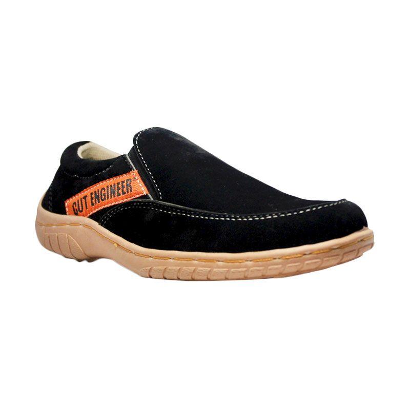 Handmade Cut Engineer Slip On Limited Suede Leather Black Sepatu Pria