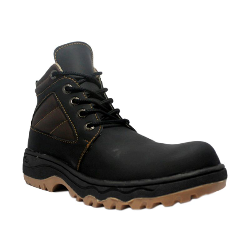 Handmade Cut Engineer Stylish Safety Boots Iron Leather Black Sepatu Pria