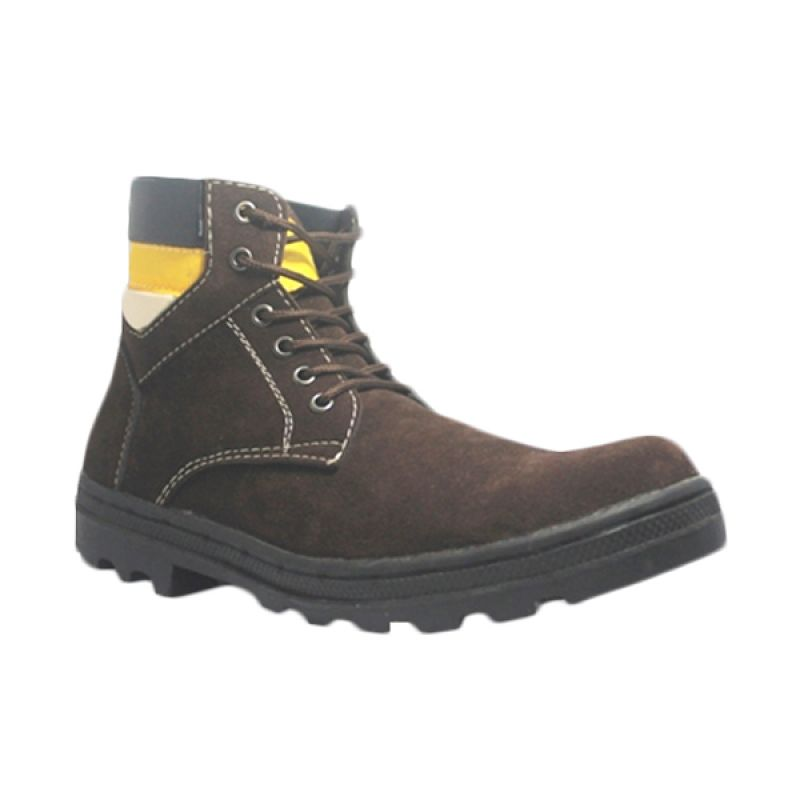 Handmade Engineer Safety Iron Suede Leather Brown Sepatu Boot Pria