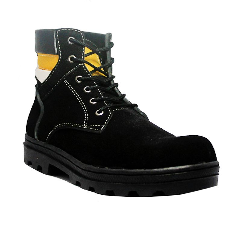 Handmade Engineer Safety Iron Xone Suede Leather Hitam Sepatu Boot Pria