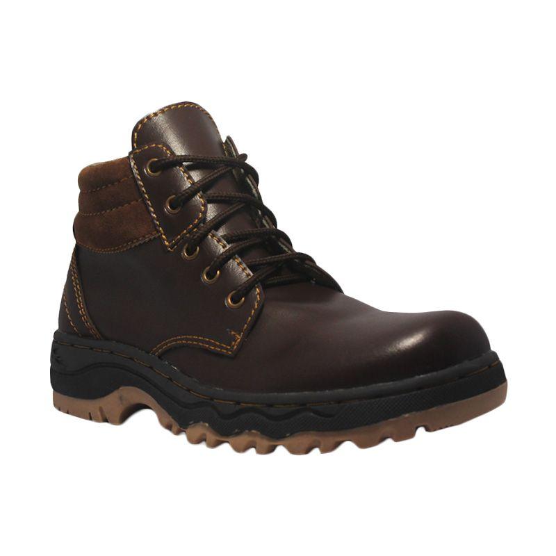 Island Shoes Rocky Dark Brown Leather Boots Sepatu Pria