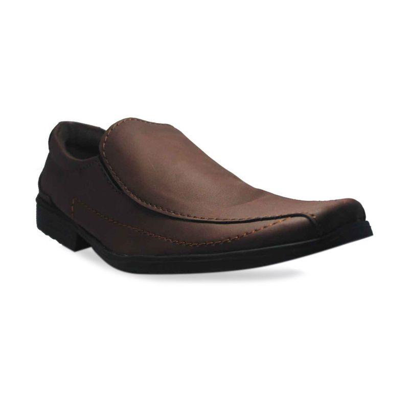 Island Shoes Formal Slip On Comfort Brown Sepatu Pria