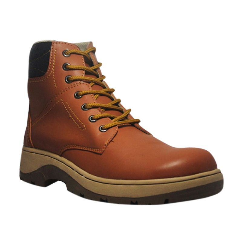 Weekend Deal - Handmade Engineer Safety Iron Leather Soft Brown Sepatu Boot Pria