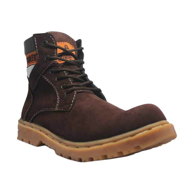 Handmade Cut Engineer Safety Boots Holton Suede Leather Brown Sepatu Pria
