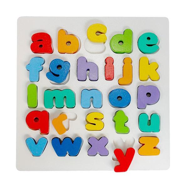 Istana Bintang Mainan Kayu Chunky Puzzle Huruf Kecil Mainan Anak