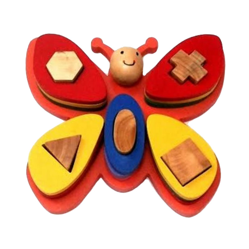 Istana Bintang Mainan Kayu Geometri Kupu-Kupu