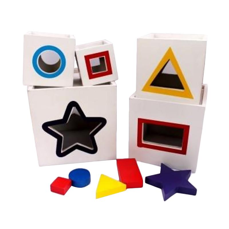 Istana Bintang Mainan Kayu Kotak Pelangi Susun