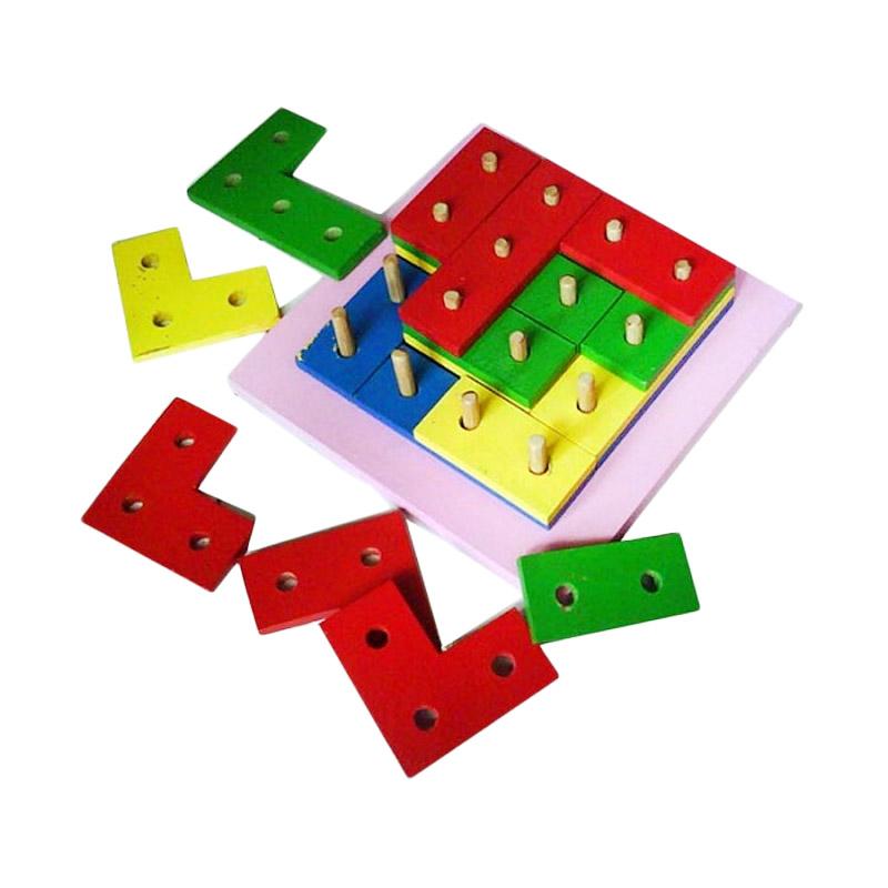 Istana Bintang Tetris 4 Susun Mainan Kayu