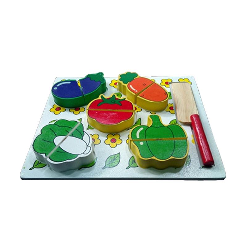 Istana Bintang Puzzle Sayur Potong Mainan Kayu